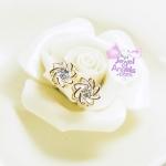 ต่างหู,ตุ้มหูแฟชั่นดอกไม้แต่งเพชรคริสตัลกลมสไตล์เกาหลี