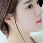 ต่างหูแฟชั่นสไตล์เกาหลีรูปมงกุฎสีทองแต่งคริสตัล