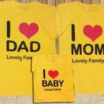 เสื้อครอบครัวพิมลาย I Love DAD-MOM -BABY