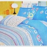 ชุดผ้าปูเตียง ผ้าปูที่นอน สีฟ้าใส Cotton 6 ฟุต 5 ชิ้น M001