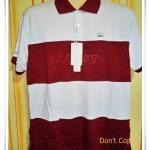 เสื้อโปโลผู้ชาย ลายขวาง สีแดงเลือดหมูสลับขาว pl40007