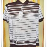 เสื้อโปโลผู้ชาย สีพื้น ลายขวาง สีน้ำตาลเข้ม สลับ ขาว pl42014