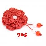 ดอกไม้เชือกร่ม ถักโครเชต์  #705 (สีแดงดิ้นเงิน)
