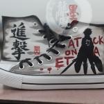 รองเท้าเพ้นท์ Handmade หุ้มข้อ ลาย Attack on titan