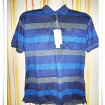 เสื้อโปโลผู้ชาย ลายขวาง สีกรม มีลายคาด pl40002