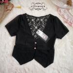 เสื้อคลุมลูกไม้แขนสั้นสีดำ
