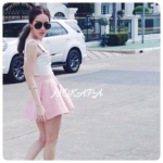 ชุด Set 2 ชิ้น Brand : PATICHA_BRAND Signature White Crop Top and Baby Blue & Pink Skirt Crop..