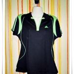 เสื้อกีฬา adidas ผู้หญิงสีดำคอเขียว 3 XL