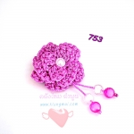 ดอกไม้เชือกร่ม ถักโครเชต์ #753 (สีชมพูบานเย็น ดิ้นเงิน)