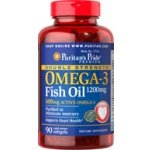 Puritan Double Strength Omega-3 Fish Oil 1200 mg 90 Softgels (USA) บำรุงสมองกระตุ้นความจำ ลดไขมันและอาการปวดข้อ (มี Omega-3 2 เท่า จึงดีกว่าทุกยี่ห้อ)