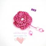 ดอกไม้เชือกร่ม ถักโครเชต์ #953 (สีชมพูบานเย็น ดิ้นทอง)