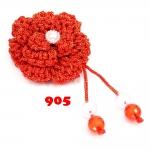 ดอกไม้เชือกร่ม ถักโครเชต์ #905 (สีแดง ดิ้นทอง)