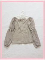 blouse1910 เสื้อแฟชั่นเข้ารูปผ้าสกินนี่(ยืดได้) ซิปหน้า แขนยาวชีฟองเปิดไหล่ สีกากี