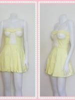 dress2262  ขายส่งเสื้อผ้าแฟชั่น เดรสแฟชั่นเกาะอกเสริมฟองน้ำ ผ้าสกินนี่(ยืดได้เยอะ) สีเหลืองพาสเทล