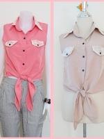 Sale!! blouse1693 เสื้อแฟชั่นผ้าไหมอิตาลี คอปกเชิ้ตลูกไม้ ผูกเอว สีเบจ/สีครีม รอบอก 36 นิ้ว