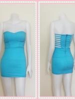dress2318  ขายส่งเสื้อผ้าแฟชั่น เดรสแฟชั่นเกาะอกเสริมฟองน้ำบาง หลังริ้วเป็นเส้นๆ ซิปหลัง ผ้าสกินนี่(ยืดได้เยอะ) สีฟ้าพาสเทล Size M