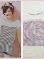 blouse2158 เสื้อแฟชั่นไซส์ใหญ่ แขนในตัว อกซีทรู ผ้าชีฟองลายทางโทนสีขาวฟ้าแดง