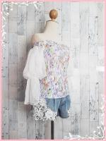 blouse3031 ขายส่งเสื้อแฟชั่นเปิดไหล่ซิปข้างแขนบอลลูนลายดอกไม้