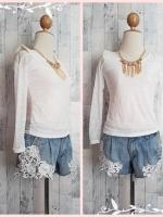 blouse3036 ขายส่งเสื้อลูกไม้ยืดเนื้อนิ่มแขนยาวบ่าฟองน้ำสีขาว