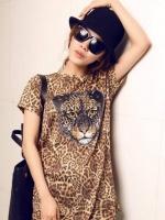 เสื้อผ้าผู้หญิง เสื้อแขนสั้นลายเสือ