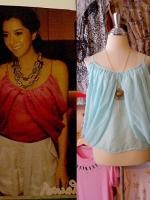 blouse1449  เสื้อแฟชั่นสไตล์ดารา ผ้าชีฟองเนื้อนิ่ม สายเดี่ยว แต่งดีเทลด้านข้าง สีฟ้าพาสเทล