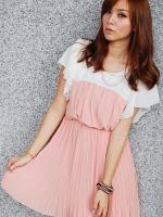 เสื้อผ้าแฟชั่น เสื้อผ้าเกาหลี Korean chiffon pleated dress