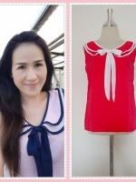 blouse1740 เสื้อแฟชั่นงานแพลตตินั่มผ้าชีฟองเนื้อดี คอบัวสองชั้นผูกโบว์ แขนกุด สีแดงกุ๊นขาว รอบอก 38 นิ้ว