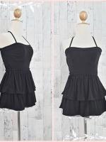 blouse2900 เสื้อแฟชั่นเกาะอกมีสายผูกคล้องคอ เอวยืด ชายระบาย ผ้ายืดเนื้อดีสีดำ