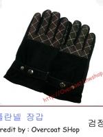 ถุงมือหนังชามัวร์ สีดํา นิ้วมือลายสก๊อต