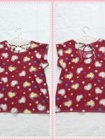 blouse1983 เสื้อแฟชั่นน่ารัก แขนในตัว ผูกหลัง ลายหัวใจ ผ้าชีฟองเนื้อหนาลายหัวใจสีแดงเลือดหมู