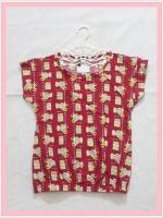 blouse2146 เสื้อแฟชั่นน่ารัก แขนในตัว เอวจัมพ์ ผ้าชีฟองเนื้อหนาลายตุ๊กตาหมีสีแดงเข้ม