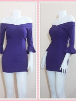 dress2946 ชุดเดรสราคาส่ง เดรสเข้ารูปฟองน้ำอก แขนสามส่วนระบายโชว์ไหล่ ซิปหลัง ผ้าสกินนี่(ยืดได้เยอะ) สีม่วง