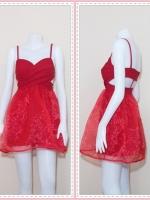dress2565 เดรสออกงานแฟชั่นสายเดี่ยวอกไขว้ เว้าหลังเอวยืด กระโปรงคลุมผ้าใยแก้ว ผ้าสกินนี่สีแดง