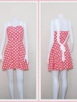 dress2355  ขายส่งเสื้อผ้าแฟชั่น : เดรสแฟชั่นน่ารักสายสปาเก็ตตี้ ผูกโบว์หลัง ซิปข้าง ผ้าไหมอิตาลีลายจุดขาว สีส้มพาสเทล