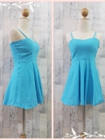 dress2256 เดรสแฟชั่นสายเดี่ยวอกเสริมฟองน้ำบาง ซิปหลัง ผ้าสกินนี่(ยืดได้) สีฟ้าพาสเทล