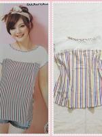 blouse2151 เสื้อแฟชั่นไซส์ใหญ่ แขนในตัว อกซีทรู ผ้าชีฟองลายทางโทนสีขาวเหลืองแดงฟ้า