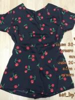 set_bp1009 ชุดเซ็ท 2 ชิ้น(เสื้อ+กางเกง)แยกชิ้น เสื้อคอกลมแขนสั้น+กางเกงขาสั้นเอวยืด ผ้าไหมอิตาลีเนื้อนิ่มลายเชอร์รี่พื้นสีดำ