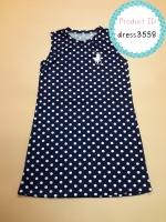dress3558 ชุดเดรสน่ารัก อกสกรีน Polo ผ้าแมงโก้ยืดเนื้อนิ่มหนาสวย ลายจุดสีกรมท่า