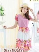 Dress ผ้าชีฟองลายดอกไม้