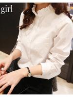 เสื้อแฟชั่นสไตล์เกาหลี ขาวและลายจุด