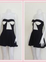 dress2266  ขายส่งเสื้อผ้าแฟชั่น เดรสแฟชั่นเกาะอกเสริมฟองน้ำ ผ้าสกินนี่(ยืดได้เยอะ) สีดำ