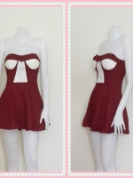 dress2263  ขายส่งเสื้อผ้าแฟชั่น เดรสแฟชั่นเกาะอกเสริมฟองน้ำ ผ้าสกินนี่(ยืดได้เยอะ) สีเลือดหมู