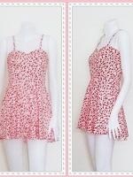dress2258 เดรสแฟชั่นสายเดี่ยว ผ้าไหมอิตาลีลายเหลี่ยม สีขาวแดง