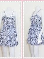 dress2259 เดรสแฟชั่นสายเดี่ยว เอวยางยืด ผ้าไหมอิตาลีลายเหลี่ยม สีขาวน้ำเงิน