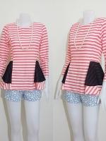 blouse1805 เสื้อแฟชั่นผ้าชีฟองลายขวาง แขนยาว ระบายเอว ซิปหลัง สีครีมส้มโอลด์โรส