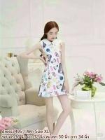 dress3495 (ราคาส่ง) งานนำเข้าแบรนด์เกาหลี ชุดเดรสน่ารัก คอบัว(มีเข็มกลัด) แขนกุด ผ้าแก้วคลุมทับผ้าหนาเนื้อดีลายน้ำหอมมีซับใน+ซิปหลังใส่ง่าย สีฟ้า Size XL งานสวยตามแบบร้านคอนเฟิร์ม