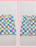 blouse2142 เสื้อแฟชั่นน่ารัก แขนในตัว ผูกหลัง ผ้าชีฟองเนื้อหนาลายสี่เหลี่ยมดอกไม้โทนสีฟ้าขาว