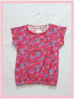 **สินค้าหมด blouse2003  เสื้อแฟชั่นน่ารัก แขนในตัว จัมพ์เอว ผ้าชีฟองเนื้อหนาลายโบว์สีแดง