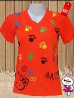 เสื้อยืดสี สกรีนลายสวยน่ารัก(สีส้ม)
