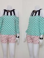Sale!! blouse1593 ขายส่งเสื้อแฟชั่นผ้าเด้งลายตาราง แขนสี่ส่วนโชว์ไหล่ สีขาวเขียวมิ้นท์ รอบอก 36 นิ้ว